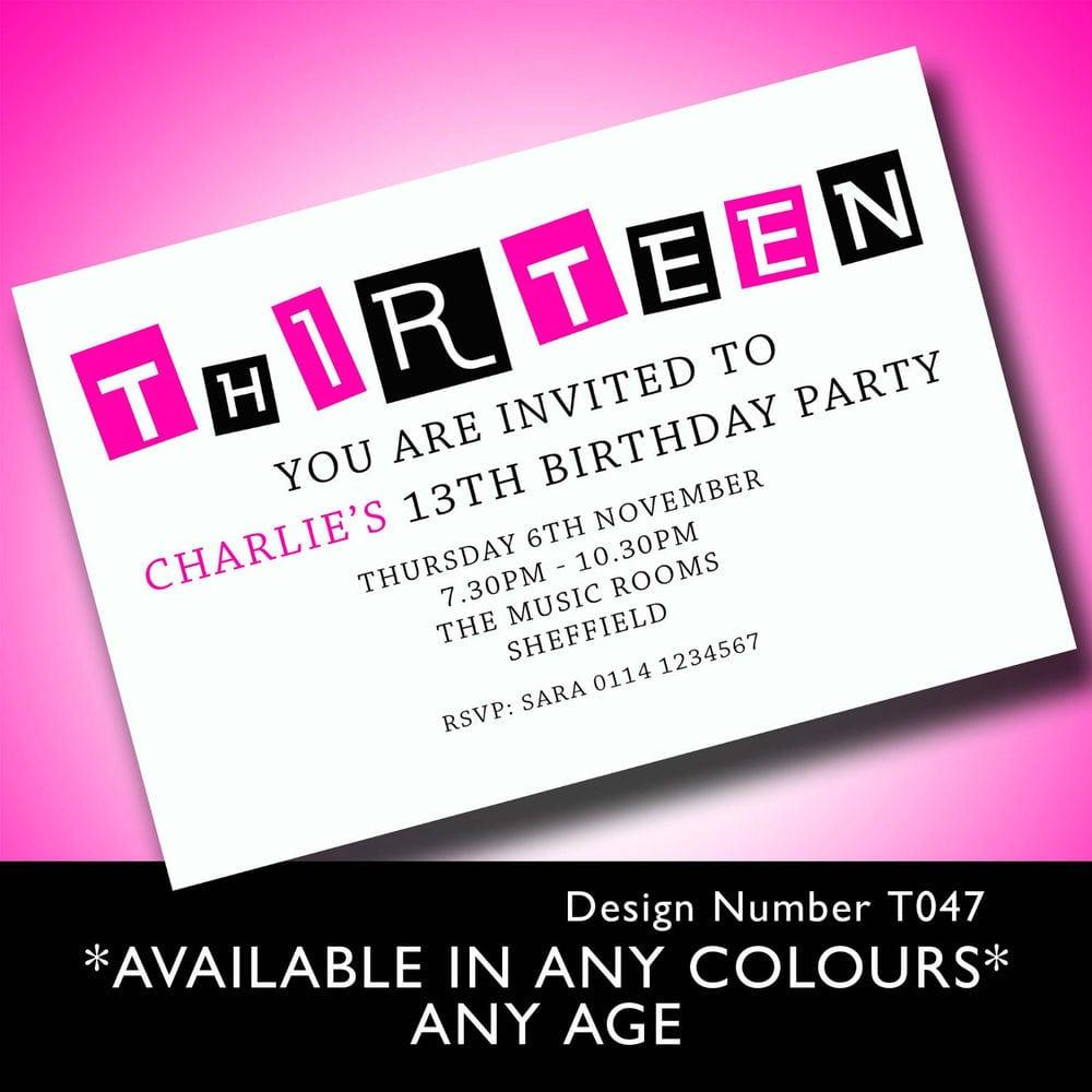 13th Birthday Party Invitations