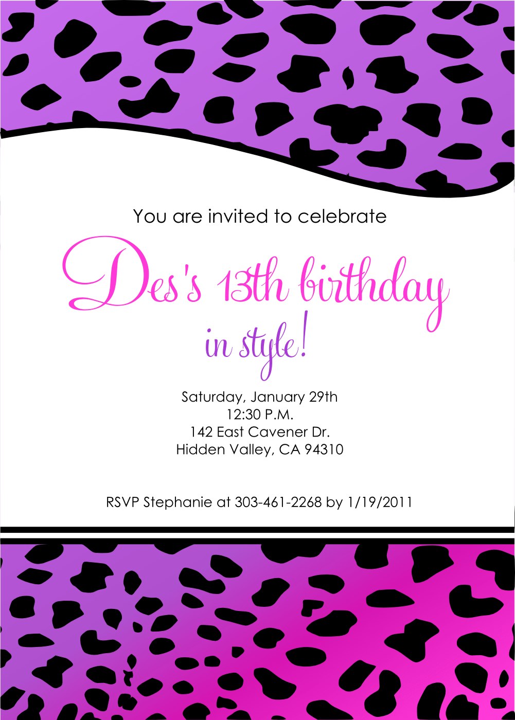 Colorful 13th Birthday Invites Vignette Invitation Card