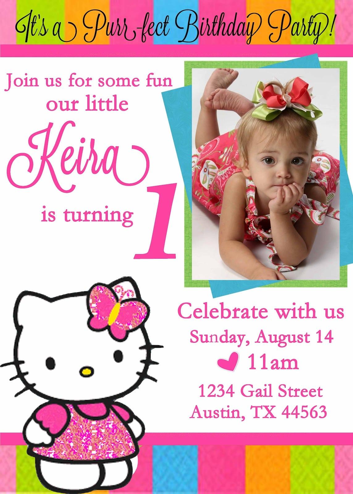 1st Birthday Invitation Hello Kitty