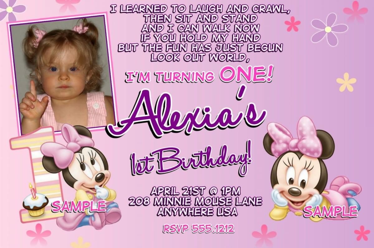 1st Birthday Invitations Girl Minnie Mouse