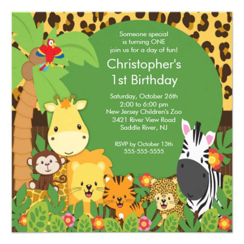1st Birthday Leopard Invitations 2