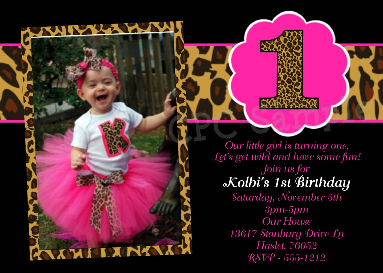 1st Birthday Leopard Print Invitations