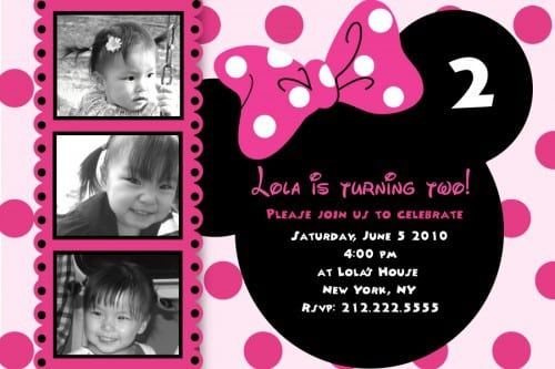 1st Birthday Minnie Mouse Free Invitation Template 3