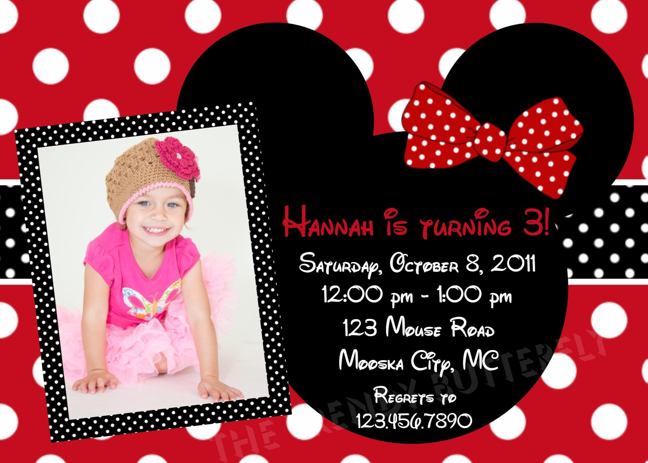 1st Birthday Minnie Mouse Free Invitation Template 4