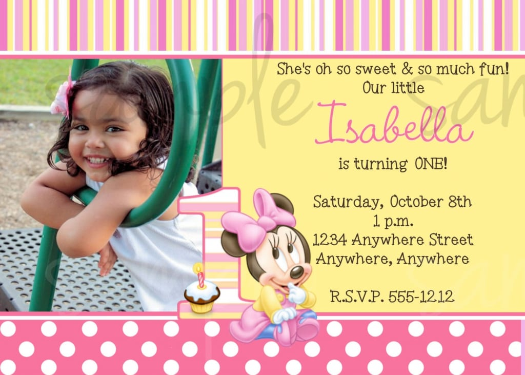 1st Birthday Minnie Mouse Photo Invitations