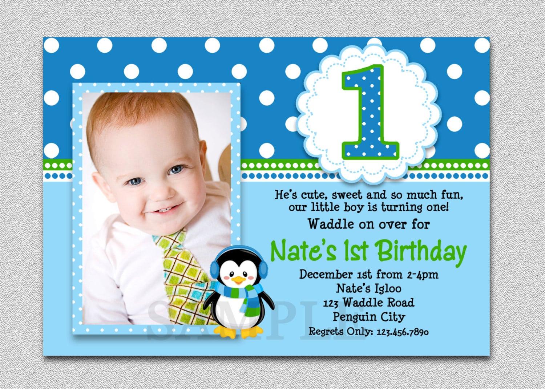 1st Birthday Party Invites Boy