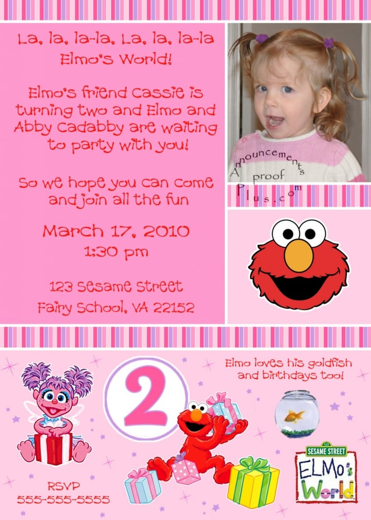 2nd Birthday Invitation Wording Elmo