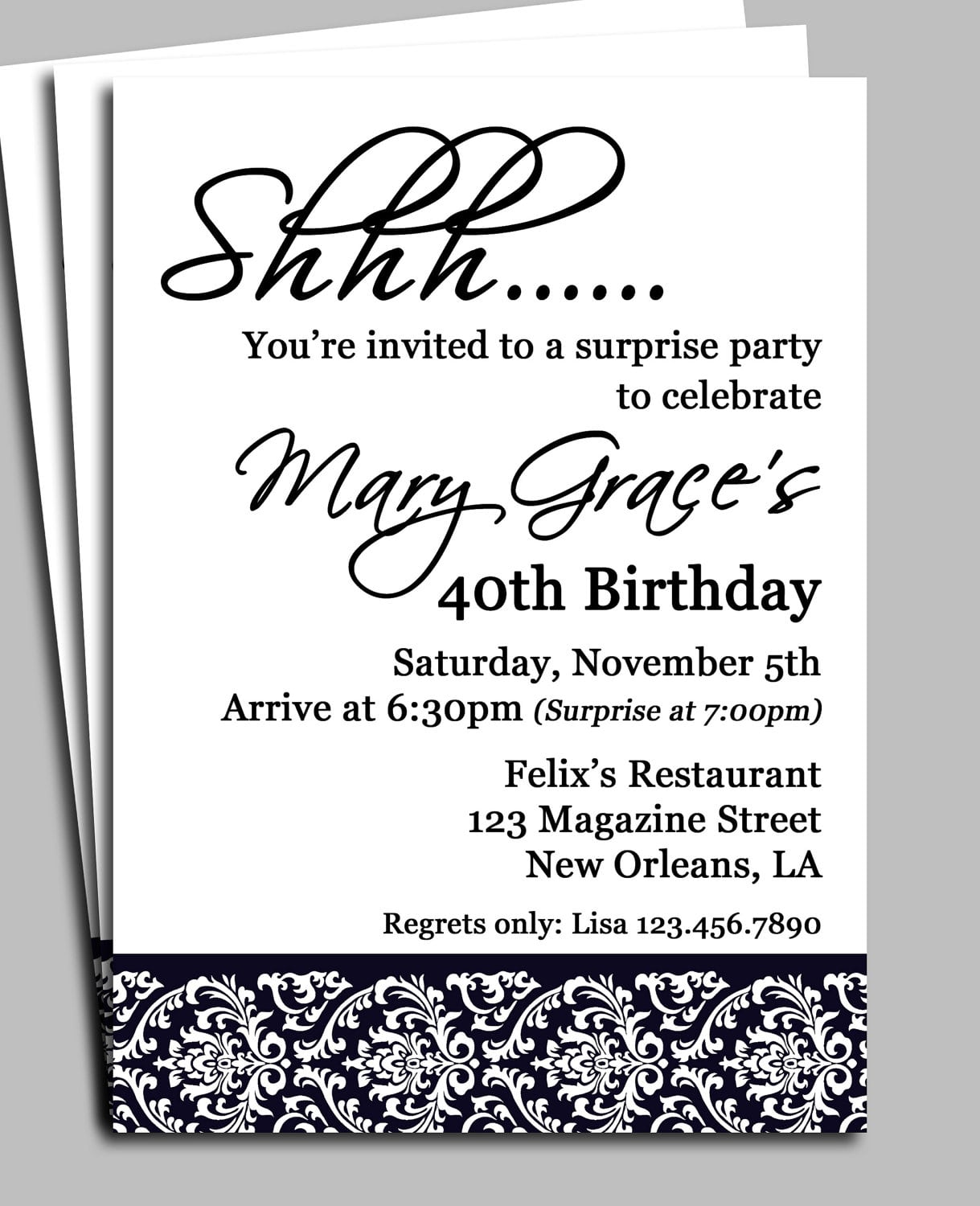 40th Anniversary Party Invitation Templates