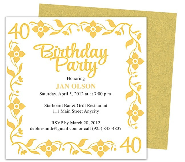 Free Printable 40Th Birthday Party Invitations was beautiful invitations example