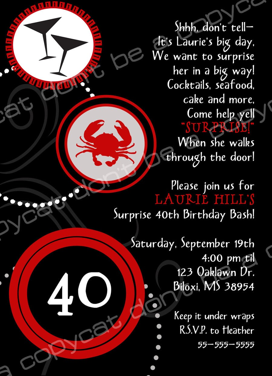 40th Birthday Surprise Invitations Wording