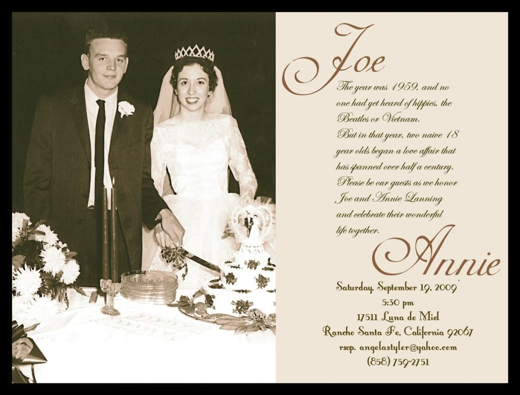 40th Wedding Anniversary Invitation Samples