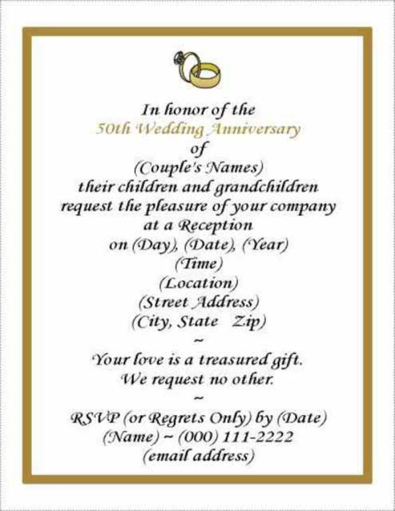 50th Wedding Anniversary Invitations Free Templates 3