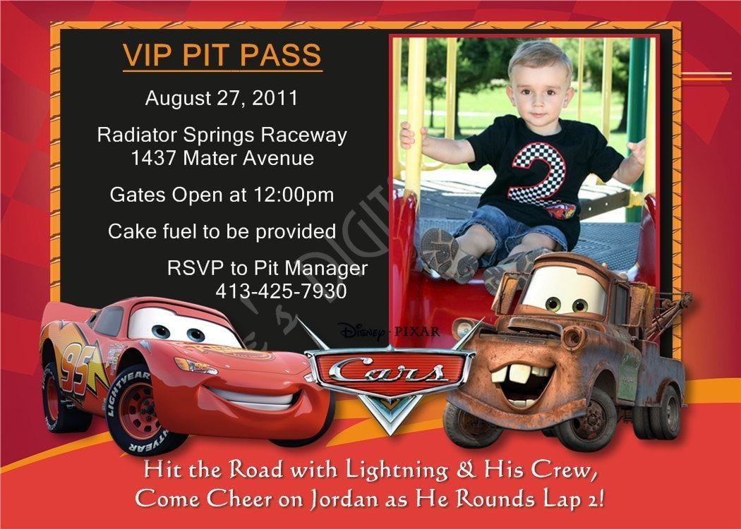 Disney Cars Invitations Template