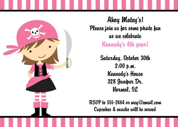 Girl Pirate Party Invitation