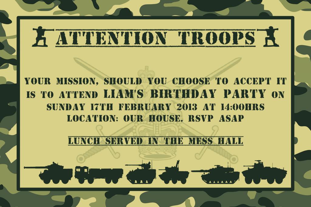 Army Birthday Invitations Free