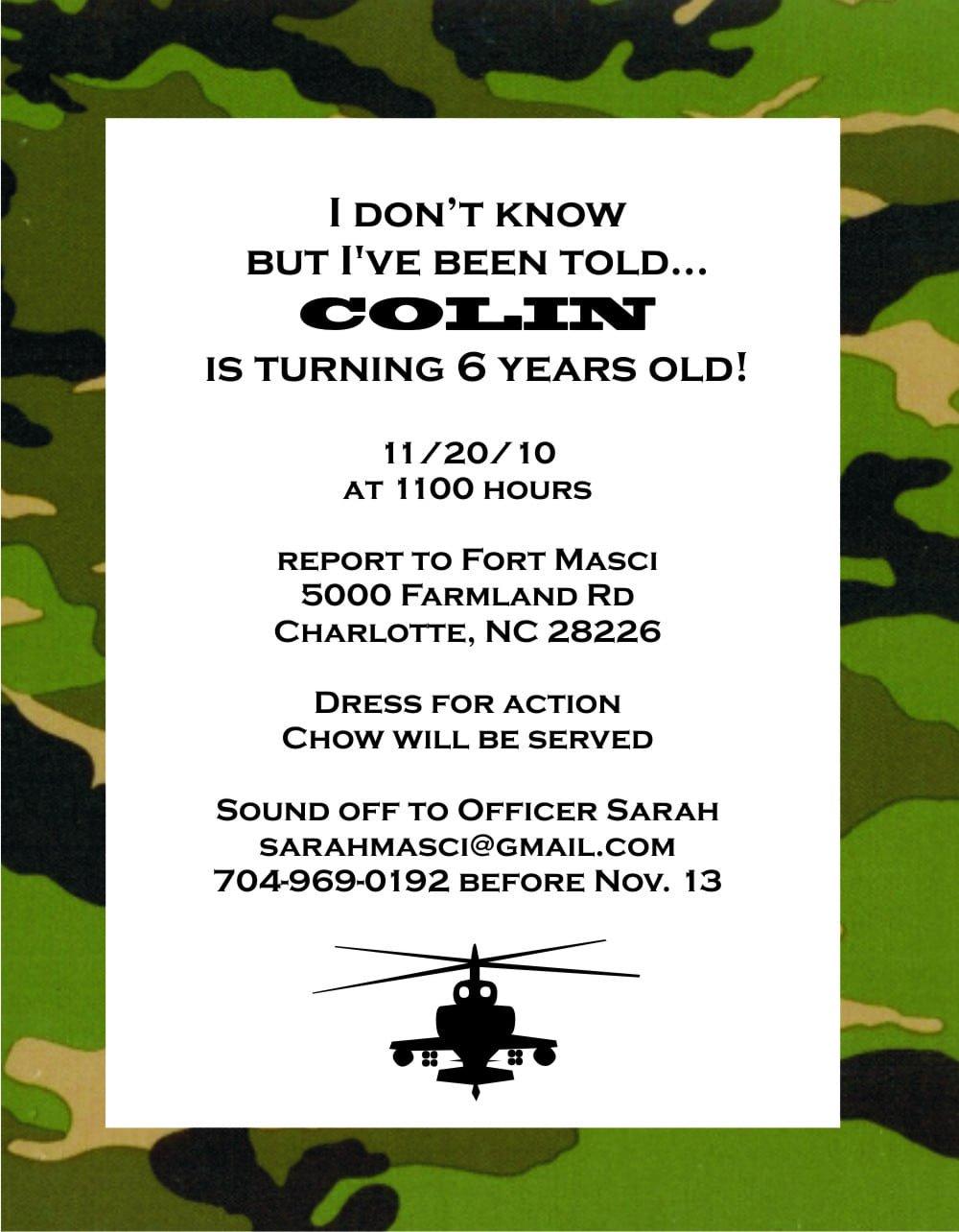 Army Birthday Invitations Templates