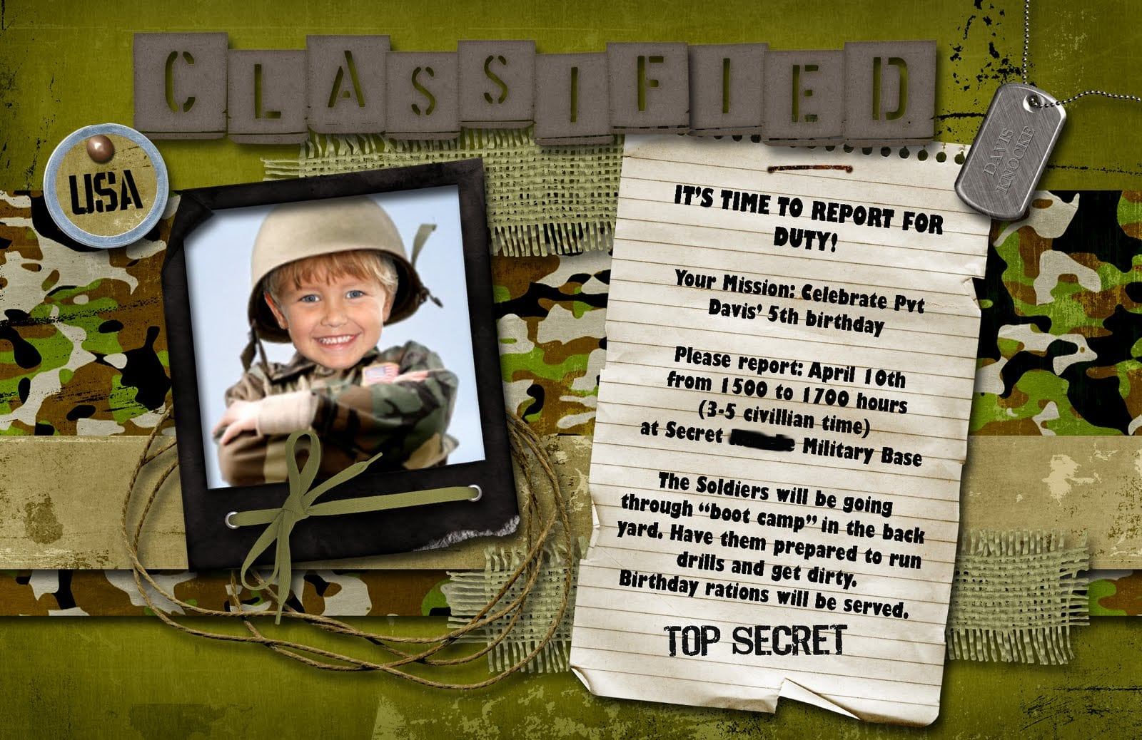 Army Kids Party Invitations