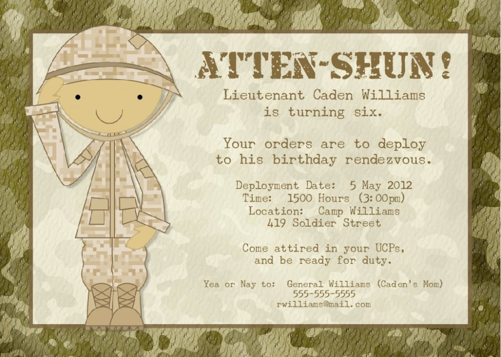 Army Party Invitations Printable