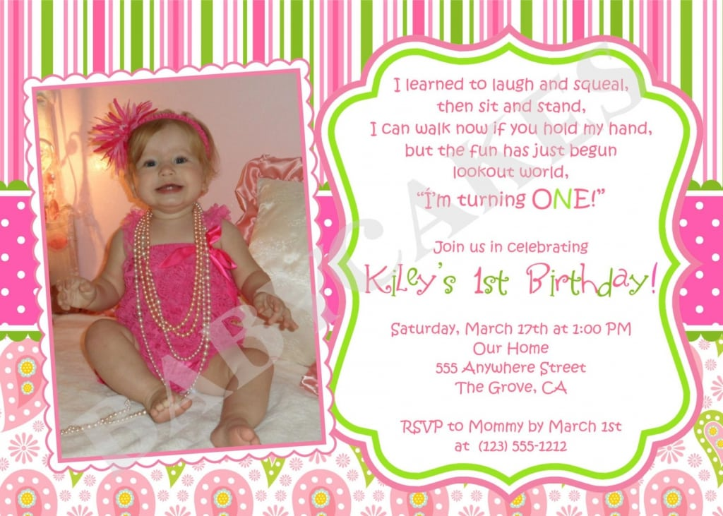 Baby Girl 1st Birthday Invitation Templates Free