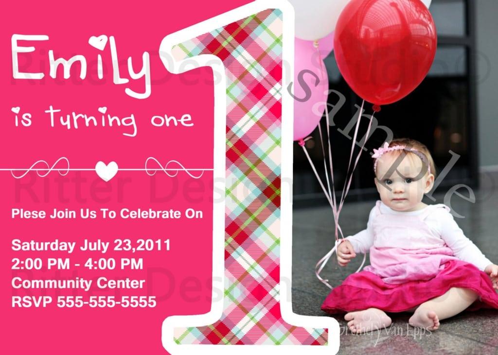 Baby Girl 1st Birthday Invitations Free