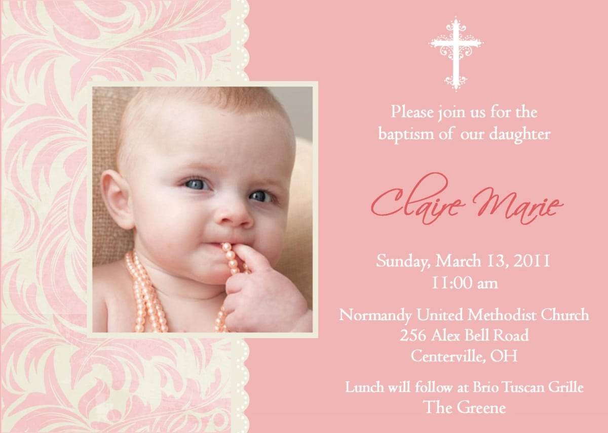 Baby Baptism Invitations Templates. Azure Baptism Photo Thank You ...
