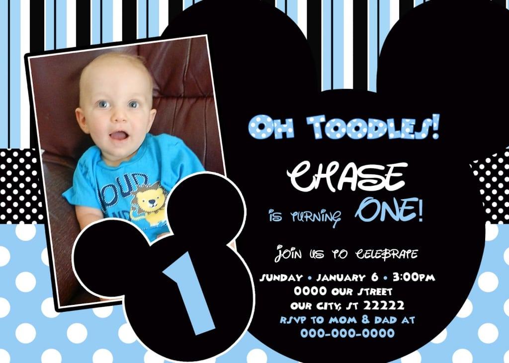 Baby Mickey Mouse 1st Birthday Invitation