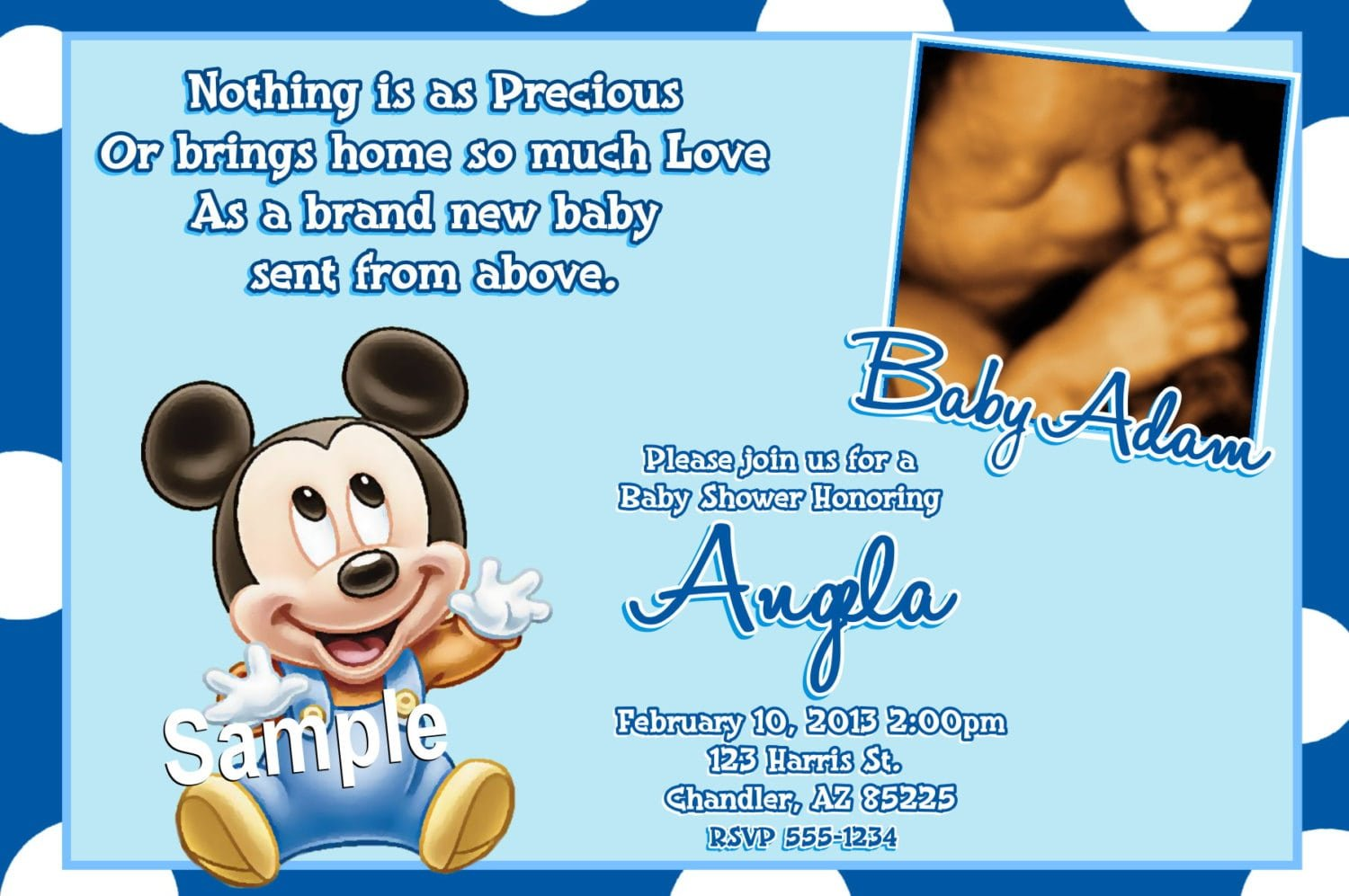This is a graphic of Comprehensive Mickey Mouse Baby Shower Invitations Printable