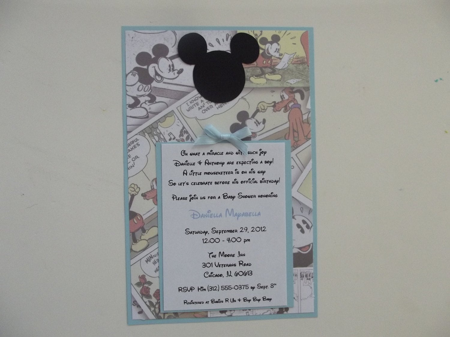 Baby Mickey Mouse Baptism Invitation