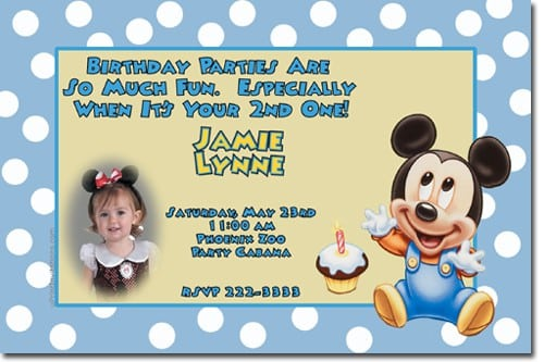 Baby Mickey Mouse Baptismal Invitation 2