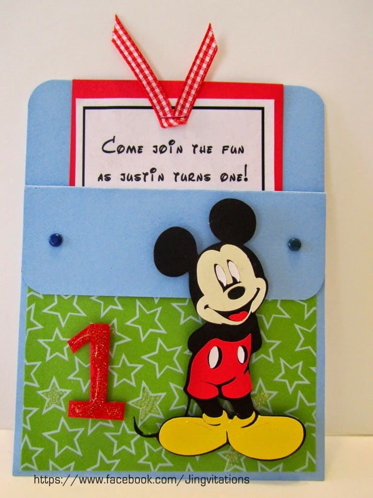 Baby Mickey Mouse Baptismal Invitation 3