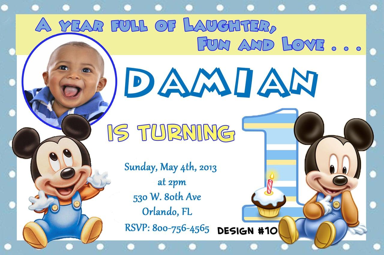 Baby Mickey Mouse Invites Birthday