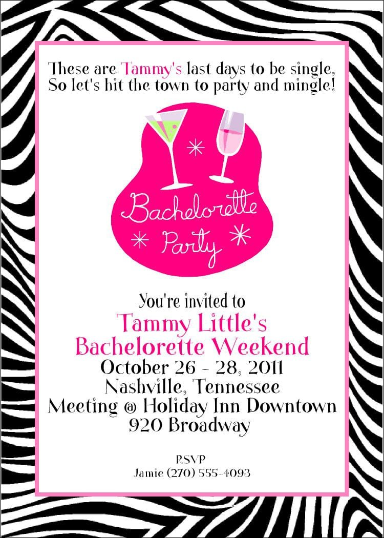 Bachelorette Invitation Party Ideas