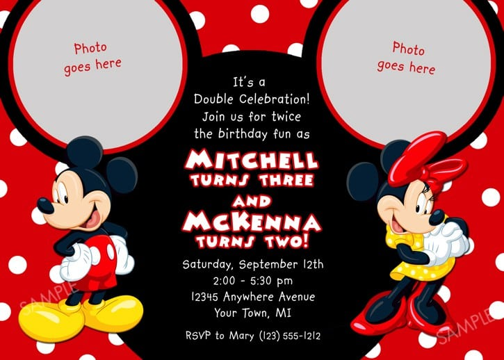 Baptismal Invitation For Blue Mickey Mouse 2