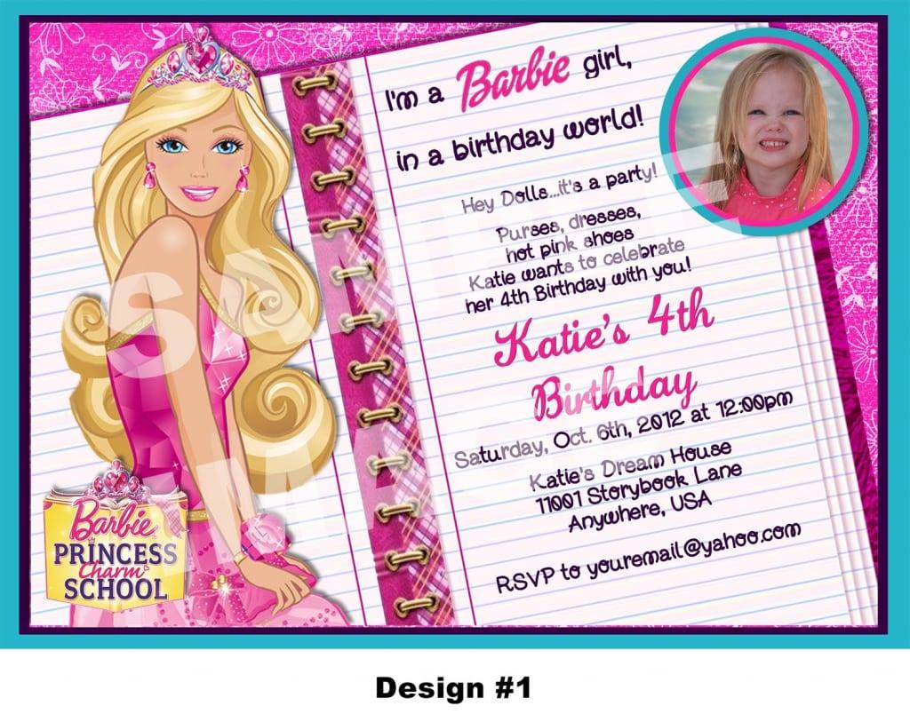 Barbie Bday Invitation Cards