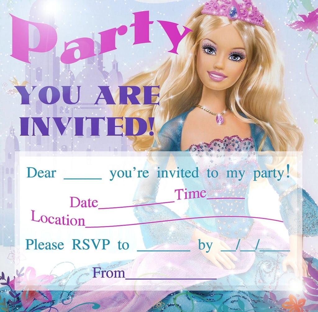 Barbie Birthday Invitation Card Free Printable