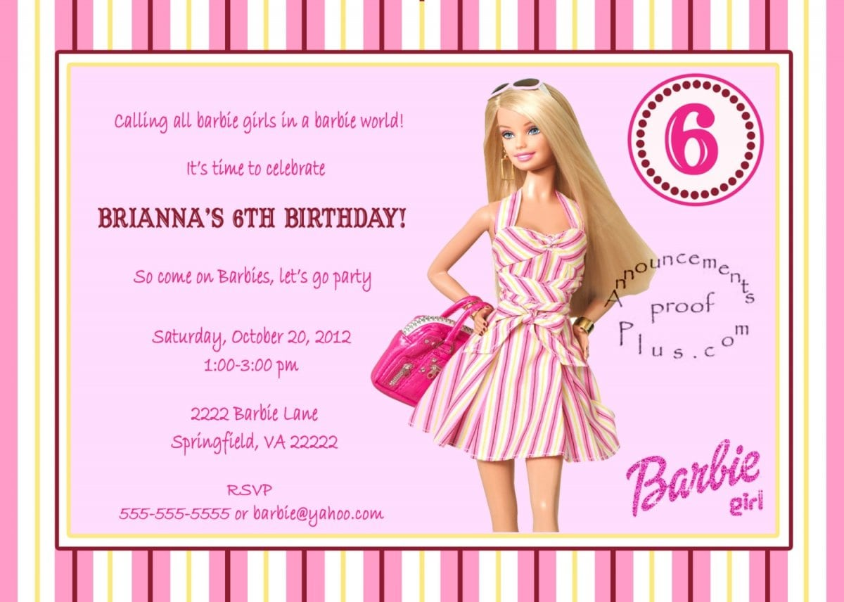 40th Birthday Ideas Barbie Birthday Invitation Templates Free