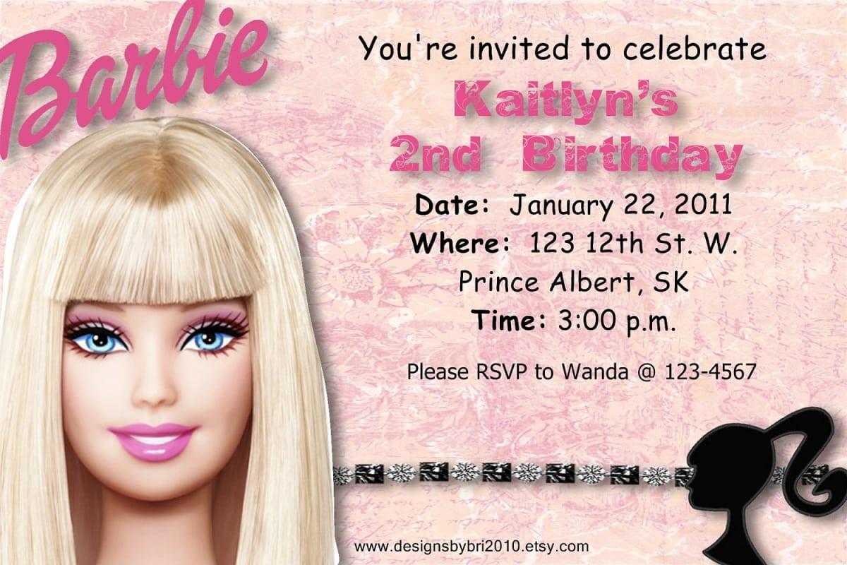 Barbie birthday invitation filmwisefo Choice Image
