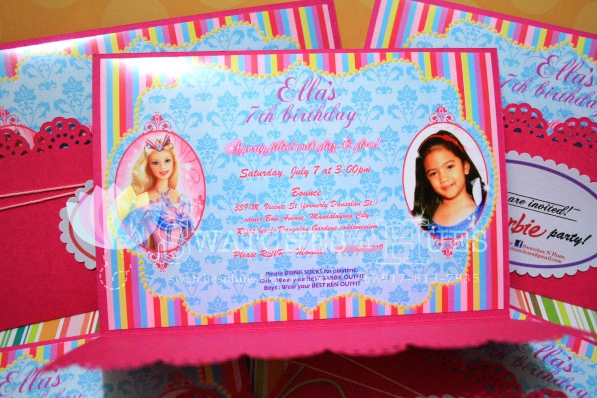 Barbie Invitation 7th Birthday