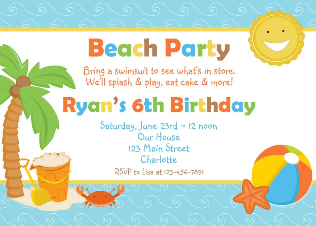 Beach Party Invitations Free