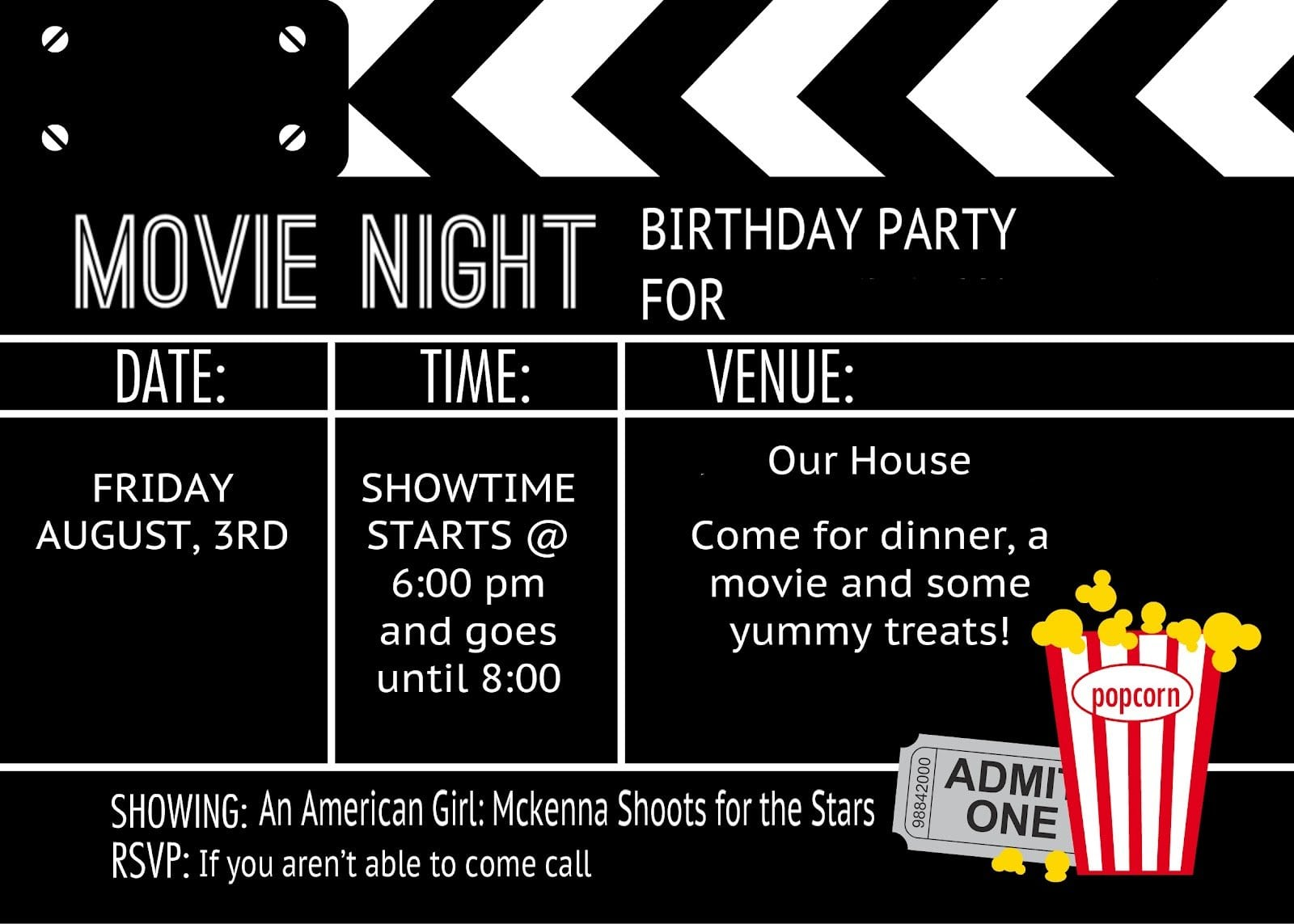 movie night ticket template .