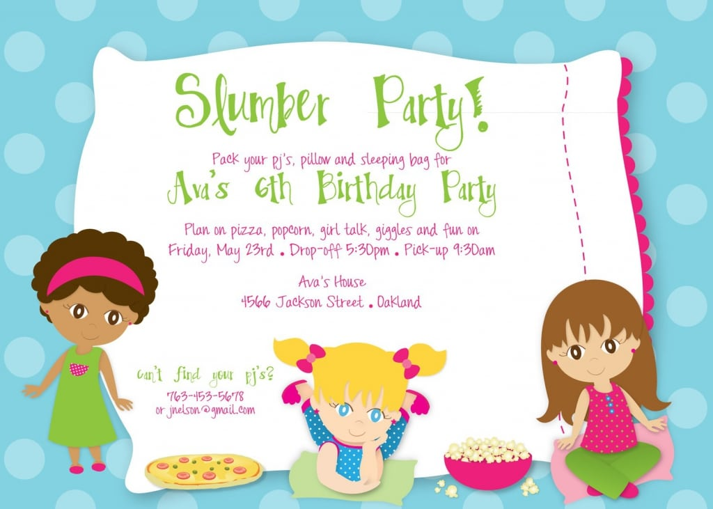 Birthday Slumber Party Invitations Free