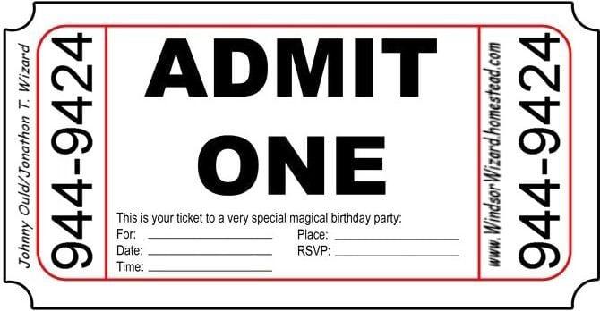 Birthday Ticket Invitation Template Free 2