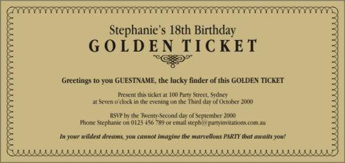 Birthday Ticket Invitation Template Free