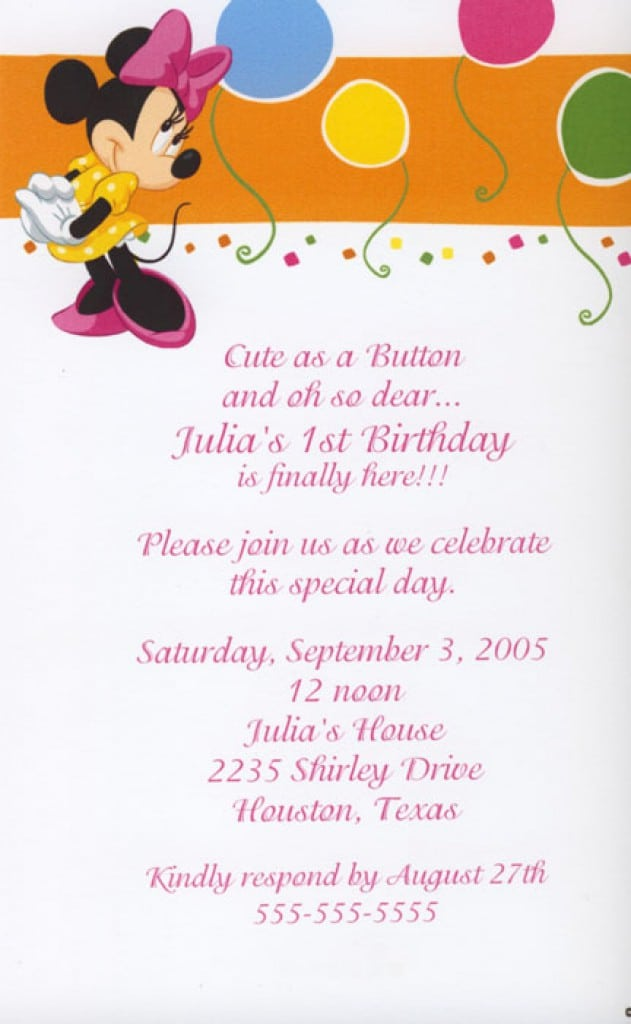 Blank Baby Minnie Mouse Invitations 3