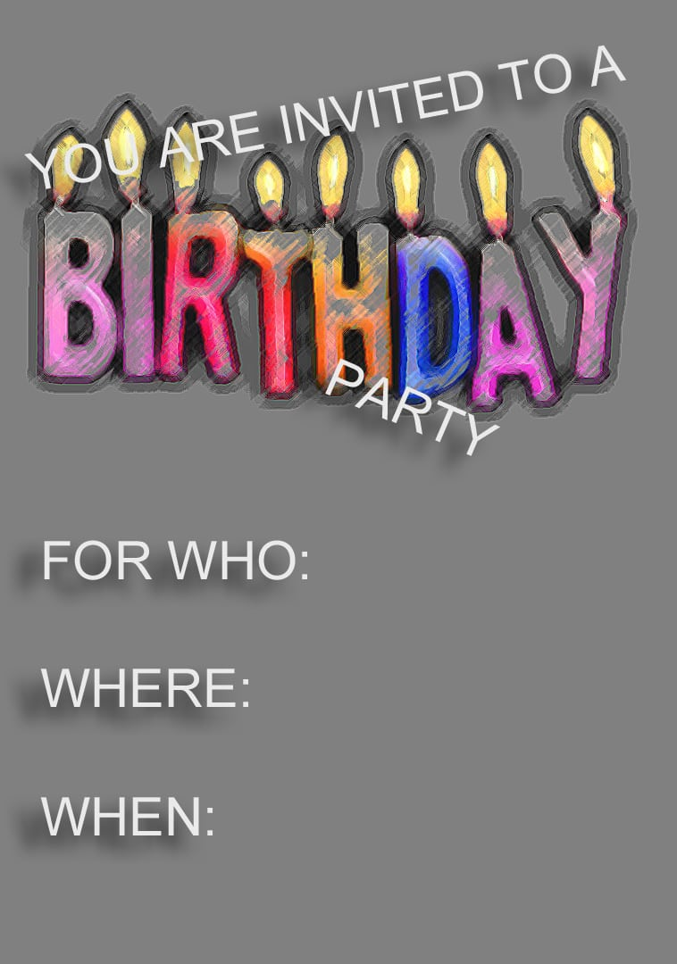 Blank Templates For Birthday Invitations