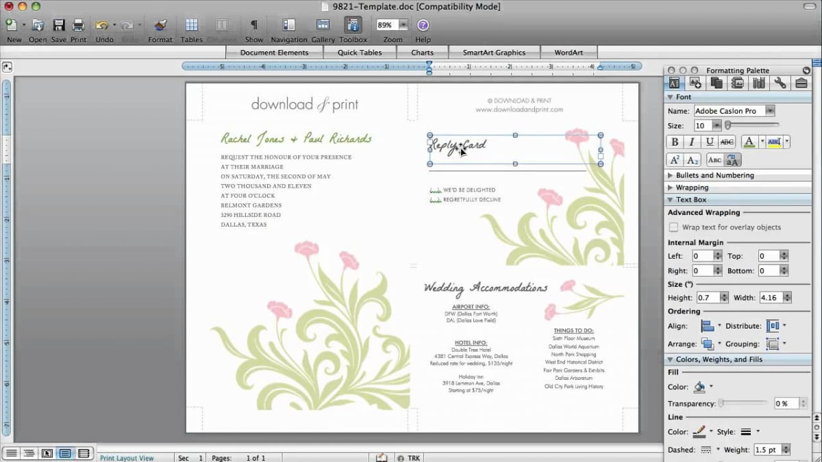Blank Wedding Invitation Templates For Microsoft Word