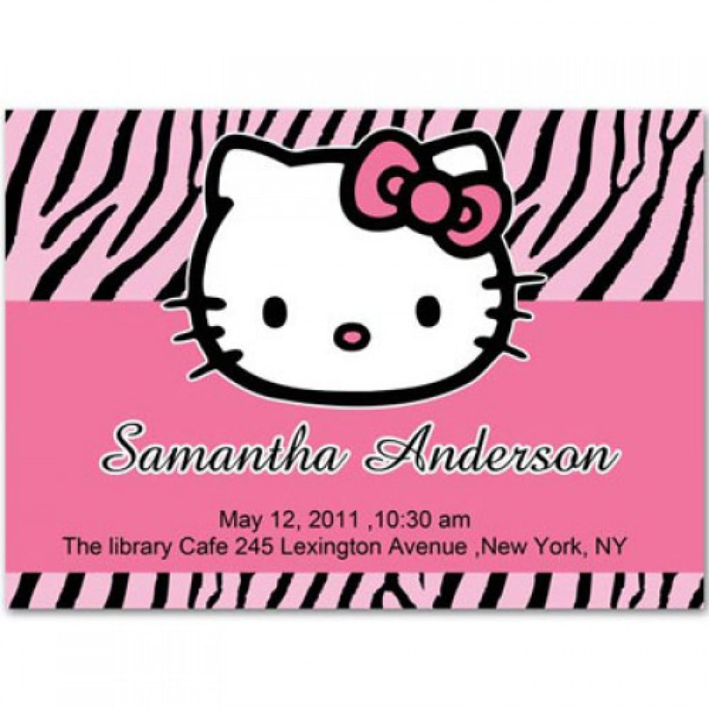 Christening Invitation Blank Hello Kitty 3