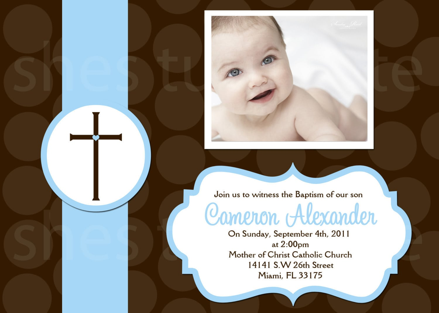 Christening Invitation Card For Baby Boy