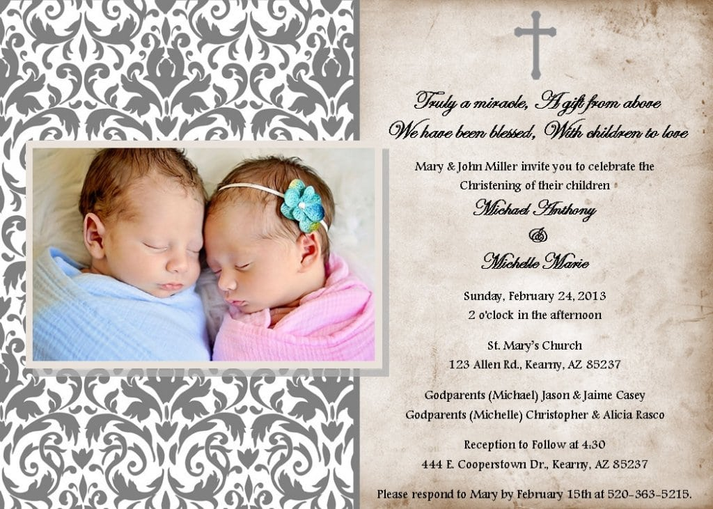Christening Invitations Boy Girl Twins
