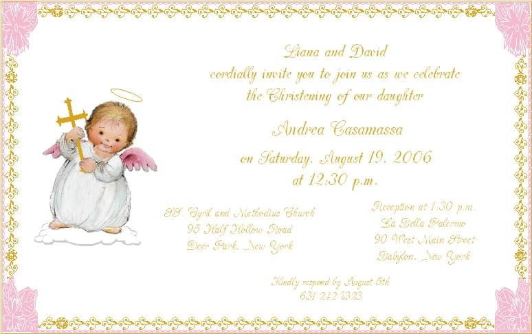 Christening Invitations For Girls Template